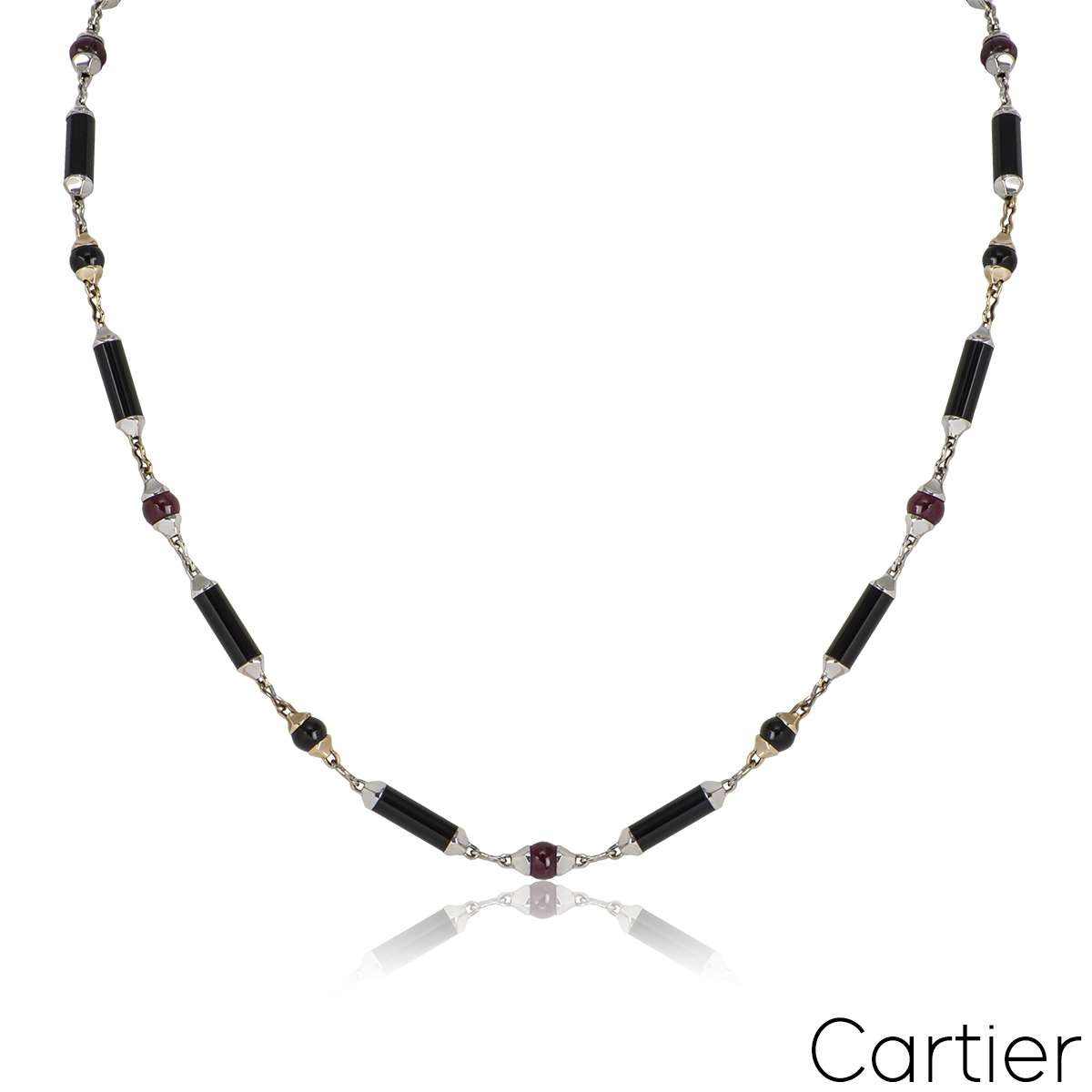Cartier White & Yellow Gold Onyx & Ruby Le Baiser Du Dragon Necklace